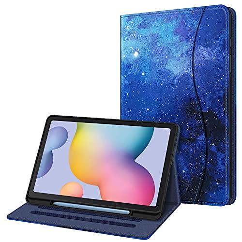 FINTIE Funda para Samsung Galaxy Tab S6 Lite de 10.4' con Portalápiz - [Multiángulo] Trasera de TPU Suave con Bolsillo Auto-Reposo/Activación para Modelo SM-P610/P615, Cielo Estrellado
