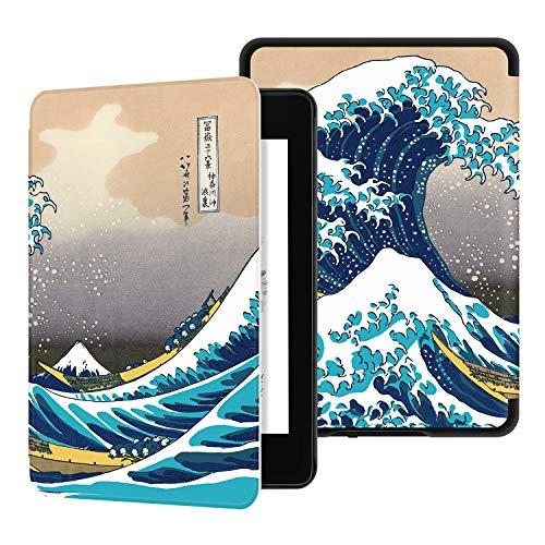 Ayotu Funda de Que Protege del Agua para Kindle Paperwhite (10.ª generación - Modelo de 2018)-Funda Inteligente de Cuero de PU con activación/suspensión automática K10 The Surfing in Kanagawa