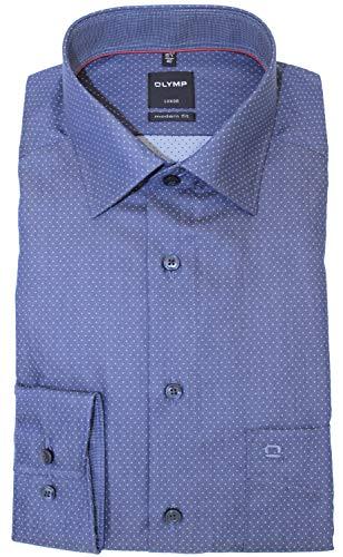 OLYMP Luxor modern fit Hemd Langarm New Kent Kragen Punkte blau Größe 44