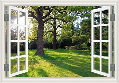 BLOUR Kreative 3D Falsche Faux Fensterrahmen Fresh ForestWallpaper Wandaufkleber Fenster Wandbild Vinyl Schlafzimmer Wandtattoos Aufkleber