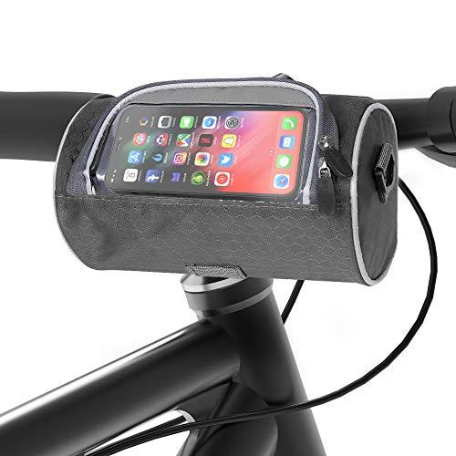 ituansen Bike Handlebar Bag,Waterproof Bike Storage Front Bag with Transparent Pouch Touch Screen and Removable Shoulder Strap,Biker Gifts for Men Women (Black)