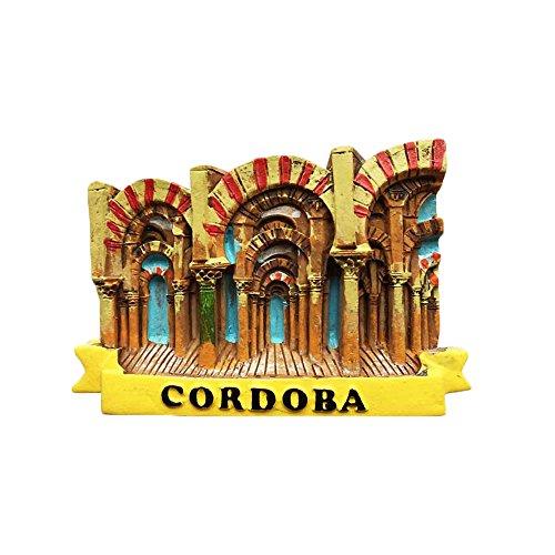 Wedare 3D - Imán de nevera de Córdoba, España, estilo mezquita, hecho a mano, decoración de hogar y cocina, imán de nevera