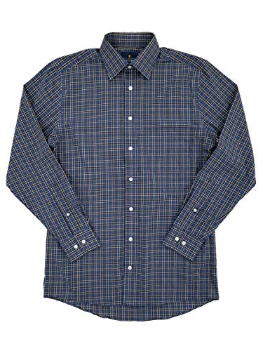 Stafford Mens Stretch Broadcloth Brown Indigo Plaid Long Sleeve Dress Shirt 15.5/32-33