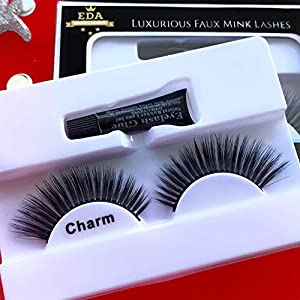 EDA LUXURY BEAUTY CHARM Faux Mink False Lashes   100% Cotton Lash Band   Full Dramatic Volume   Extra Long Intense Spiky… 1