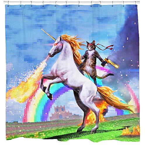 SHARP Shirter Cool Cat Duschvorhang-Set Mann Höhle Badezimmer Dekor Awesome Einhorn Schießen Feuer Blau Polyester Stoff 71 x 74 Haken enthalten