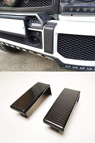 kit-car Brabus Style Carbon Fiber Front Bumper Trim Cover for G-Class W463 Mercedes-Benz G500 G550 G55 G63 G65 Vehicles - Set of 2 pcs