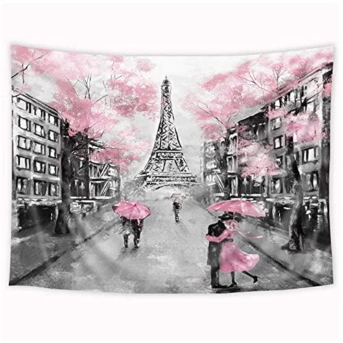 KBIASD Torre Tapiz de árbol Rosa París Moderno Amor Pareja Ciudad Europea Colgante de Pared 200x150 cm