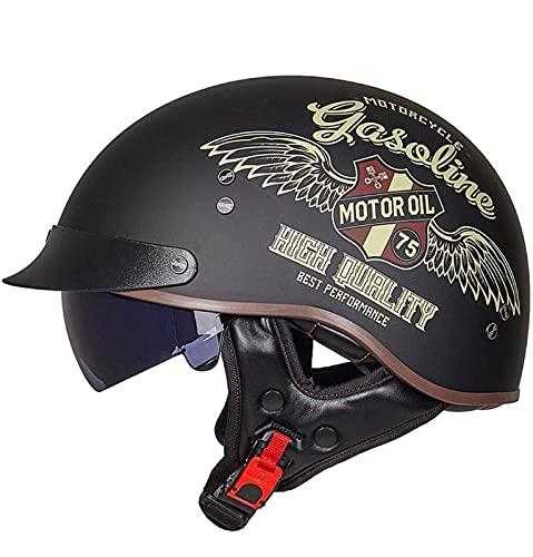 Cascos Moto Cascos Half-Helmet Abierto Medio Casco e Motocicleta Retro ECE Homologado...