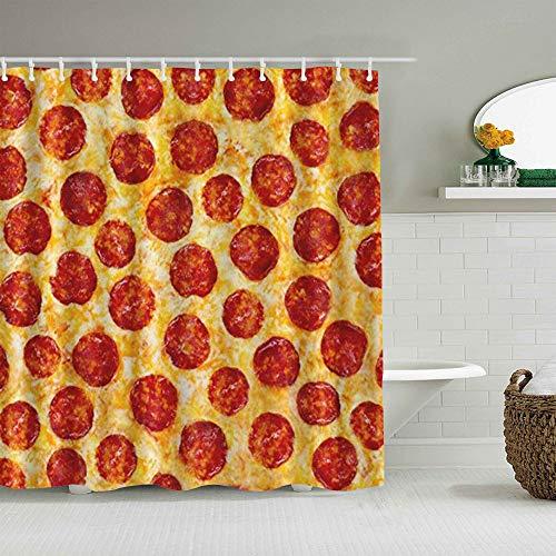 NOLOVVHA Duschvorhang,Peperoni Pizza Nahtloses Essen,personalisierte Deko Badezimmer Vorhang,mit Haken,180 * 180