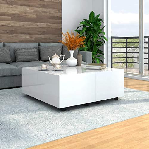 Tidyard Mesa de Centro Extensible Mesa para Sofá,100x100x35 cm,1# Blanco Brillante,con 1 Compartimento Interno y Ruedas Que se Pueden Bloquear