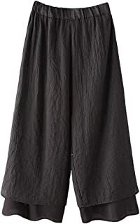 Women's Wide Leg Pants Cotton Two-Layer Ankle Capris Trousers