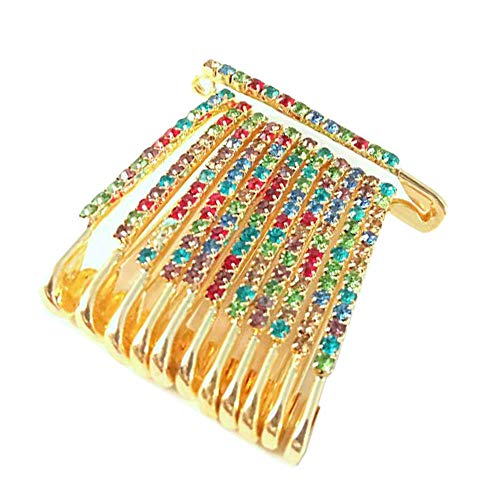 Colourful Saree/Safety Pins Brooch One Side of Safety Pin Decorated with Diamonds Set of 12,Decorative Safety Pins