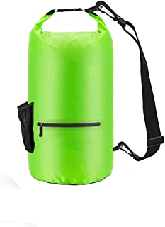 Mougerk Floating Waterproof Dry Bag, Roll Top Sack with Shoulder Strap and Front Zippered Pocket for Kayaking, Rafting, Boating, Swimming, Camping, Hiking, Beach, Fishing