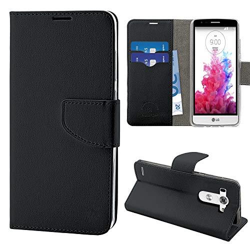 N Newtop Funda compatible para LG G3S Mini, HQ Lateral Funda Libro Flip Cierre Magnético Billetera Simil Cuero Stand (Negro)
