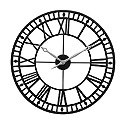Large Wall Clock, 24 Round Oversized Ancient Roman Numeral Style Home Décor Analog Metal Clock-Indoor Silent Battery Operated Metal Country Farmhouse Decorative Wall Clock for Home (Black & Silver)