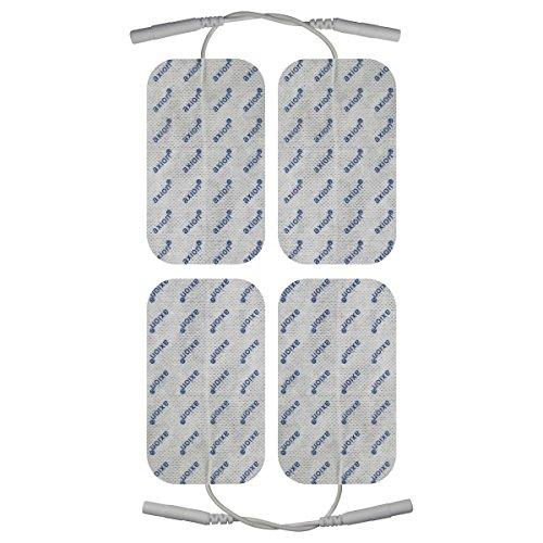 16 x TENS Elektroden/Pads EMS, 100x50mm, selbstklebend, für TENS EMS Reizstromgerät mit 2 mm-Stecker-Anschluss (Kabel-Anschluss) - 4