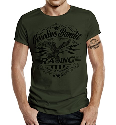 Gasoline Bandit Original Biker Camiseta: Born in Bonneville Oliv-L