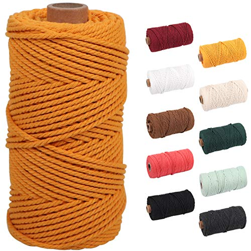 Mustard Macrame Cord 3mm x 109yards, Colored Macrame Rope, 3 Strand Twisted Cotton Rope Macrame Yarn, Colorful Cotton Craft Cord for Wall Hanging, Plant Hangers, Crafts, Knitting