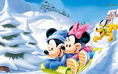 1000 piezas de rompecabezas para adultos y niños - Esquí Mickey y Minnie - Juego familiar de juguete |Juego educativo |Decoración de pared casera de bricolaje |Elección de regalo |75X50Cm 38x26cm