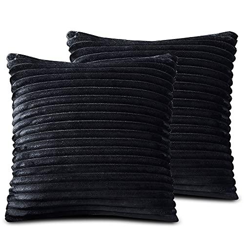 FARFALLAROSSA Örngott av mikrofiber med dragkedja, svart (2-pack) 50 x 50 cm, kvadratisk, för soffkuddar, lämpliga för alla årstider, enfärgade