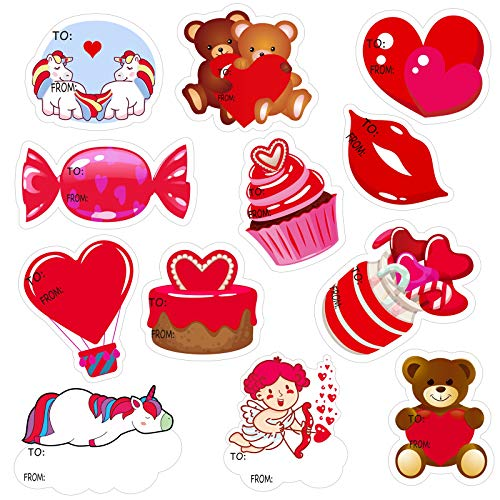 Elcoho 120 Pieces Valentine's Day Stickers to & from Gift Tag Stickers Labels Valentine's Envelope Seal Stickers in 12 Designs for Valentine's Day Decorations