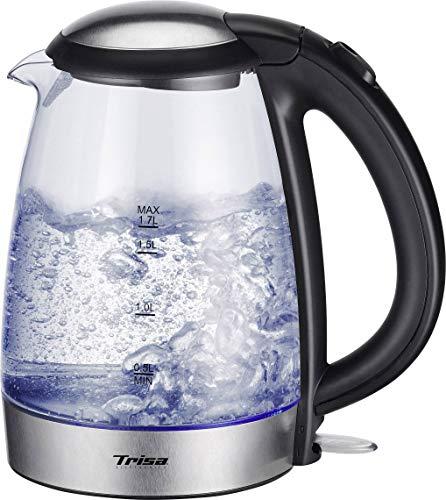 Trisa Glass Boil Wasserkocher schnurlos Glas, Edelstahl, Schwarz