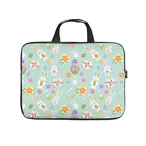 Happy Rabbit Easter Bunny Full Print Laptop Bag Protective Case Soft Neoprene Laptop Sleeve Bag Custom Laptop Bag for Staff Friends