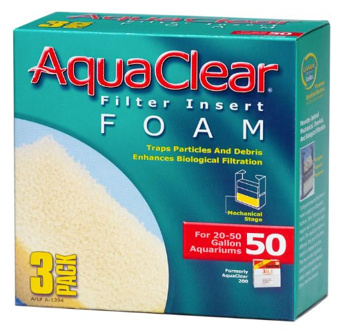 AquaClear 50 Foam Filter Inserts, Aquarium Filter Replacement Media, 3-Pack, A1394
