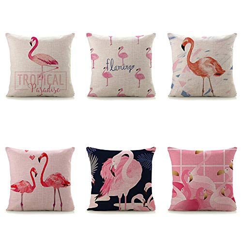 Ydq Set of 4 Flamingo Pattern Cushion Cover Linen Square Washable Breathable Pillow Case Home Decor for Sofa Car Bed 18 X 18 Inch/16X16inch,A,40 * 40CM
