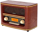 Nostalgie Kompaktanlage | Retro Radio Holz mit Bluetooth 5.0 | USB Wiedergabe | Kopfhörereingang | AUX-IN | Musikanlage Retro Style | Stereoanlage | Küchenradio | Nostalgie Radio | Vintage Radio…