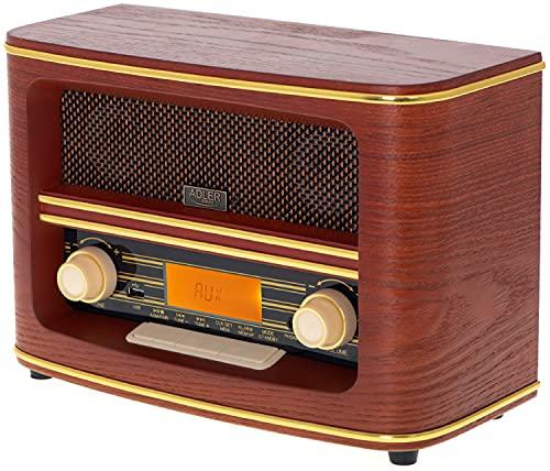 Nostalgie Kompaktanlage   Retro Radio Holz mit Bluetooth 5.0   USB Wiedergabe   Kopfhörereingang   AUX-IN   Musikanlage Retro Style   Stereoanlage   Küchenradio   Nostalgie Radio   Vintage Radio…