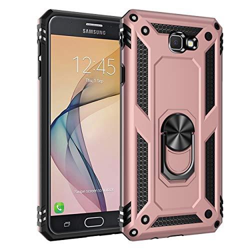 Capa Samsung Galaxy J7 Prime Case Protetor Material militar TPU macio +couro de PC proteção dupla camada de metal magnético para carro Suporte 360 graus girado anti-queda e anti-riscos capa:Rose_gold