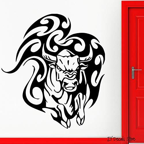 JXFFF Pegatinas de Pared de Vaca Tatuaje taurino Animal Apliques de Vinilo Tribal Pared de Vaca Enojada hogar Dormitorio Sala de Estar decoración de la habitación 56x59 cm