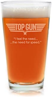 Top Gun Pint Beer Glass With Quote,