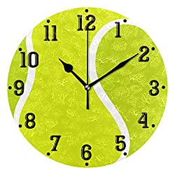 Tarity Tennis Ball Wall Clocks Battery Operated Silent Non Ticking Modern Round Wall Clock Decor for Bedrooms Kitchen Living Room Classroom Office Farmhouse