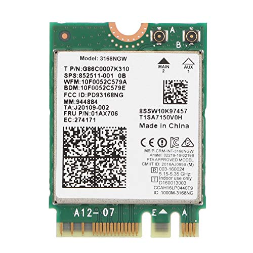 Soapow Internet 3168NGW Wireless-AC Tarjeta de red Wifi de doble banda con Bluetooth 4.2