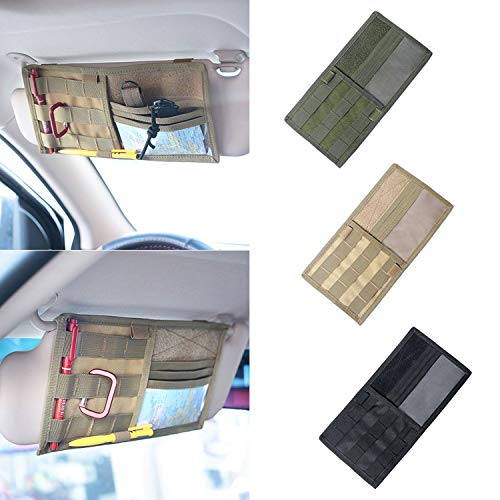 Tactical Molle Vehicle Visor Panel Truck Car Sun Visor Organizer Holder Pouch Sunshade Storage Bag (Black)