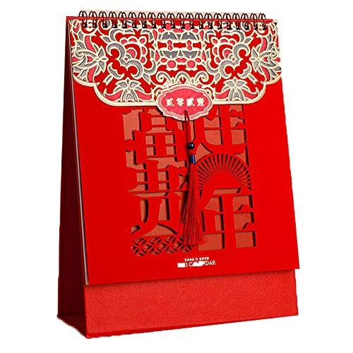 Chinesische Mini Tischkalender 2021 Tischkalender Zum Selbstgestalten für das Mondjahr des Ochsen,19.2x8x25.7cm,Chinesische Papierschneidekunst Tischkalender Zum Selbstgestalten für Lunar New Ye