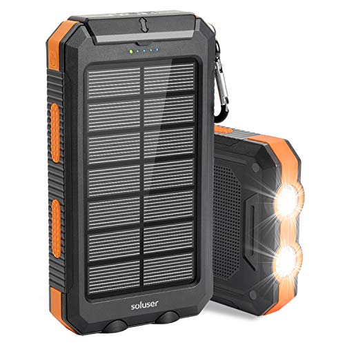 Solar Charger 10000mAh Solar Power Bank External Backup Battery Pack...