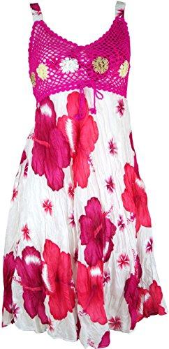Guru-Shop Boho Minikleid, Sommerkleid Hawaii, Krinkelkleid, Damen, Weiß/Fuchsia, Synthetisch, Size:38, Kurze Kleider Alternative Bekleidung