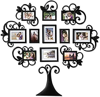 WallVerbs 12-Piece Scroll Tree Photo Frame Set in Black l Full-Size Hanging Template