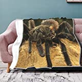 N\ A Flannel Velvet Throw Blanket with Pom Pom Ball Fringe Tassel Cool Mexican Red Rump Tarantula Personalized Plush Soft Cozy Lightweight Winter Couch Bed Sofa Living Room Bedroom Fuzzy Bed Blankets