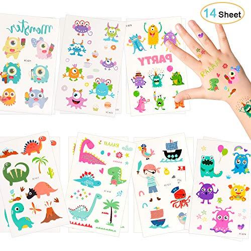 Sporgo Tattoo Kinder, Dinosaurier Monsters Piraten Tattoo Set 172 Kindertattoos Aufkleber für Jungen Mädchen Kinder Spielen Mitgebsel Kindergeburtstag Party