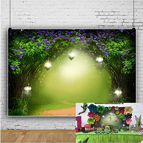 OFILA Fairy Forest Backdrop 7x5ft Magic Trees Elf Glitters Enchanted Garden Theme Baby Shower Party Kids Fantasy Wonderland Birthday Background Little Girls Portraits Toddlers Shoots Video Props