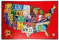 RED Us MAP Route 66レトロ装飾金属壁プラークヴィンテージティンサイン