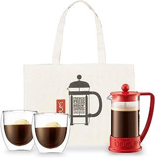 ボダムジャパン 【正規品】ボダム コーヒーメーカー、グラス、バッグセット レッド コーヒーメーカー22×10.6×16cm、グラス9.2×8.9×8.9cm、トートバッグ45×33×1cm BRAZIL/PAVINA K10948-294J-2