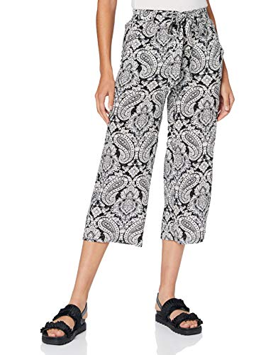 ONLY Damen Onlnova Life Crop Palazzo Pant AOP WVN Hose, Cloud Dancer/AOP:Black Paisley, 36