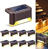 8 piezas de luces LED solares para terraza, luces solares impermeables para escaleras, iluminación exterior para jardín, sendero, escalera, terraza, valla (luz cálida)