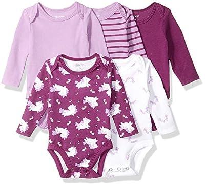 Hanes Ultimate Baby Flexy 5 Pack Long Sleeve Bodysuits, Purple Fun, 6-12 Months