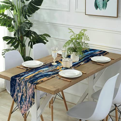 Camino de mesa Arte moderno,Mármol ónix azul naranja amarillo,Cena, fiestas, decoración de bodas, 13 x 2811 pulgadas.